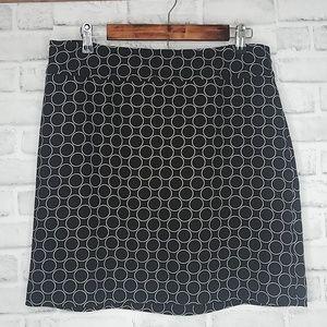 Ann Taylor LOFT Black + White Print Wool Skirt 12